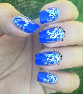 Nails Inc Gel Effect Baker Street & Essie No Place Like Chrome stamping