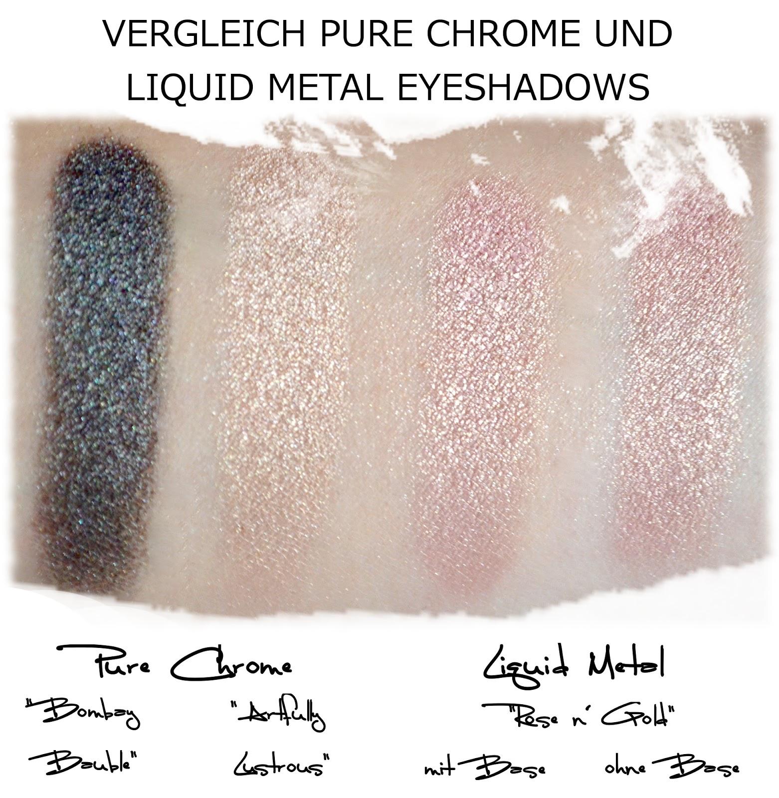 Vergleich Liquid Metal und Pure Chrome Eyeshadow