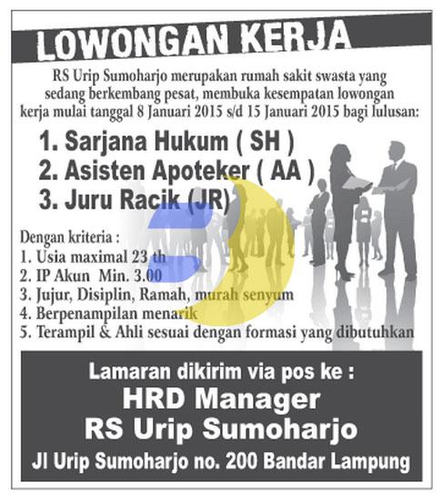 Lowongan Kerja Lampung, Jumat, 9 Januari 2015 di RS. Urip Sumoharjo