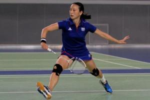 Hongyan Pi en match de badminton