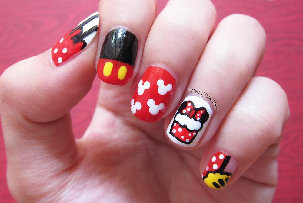 Nail Art Mickey Mouse Cartoon