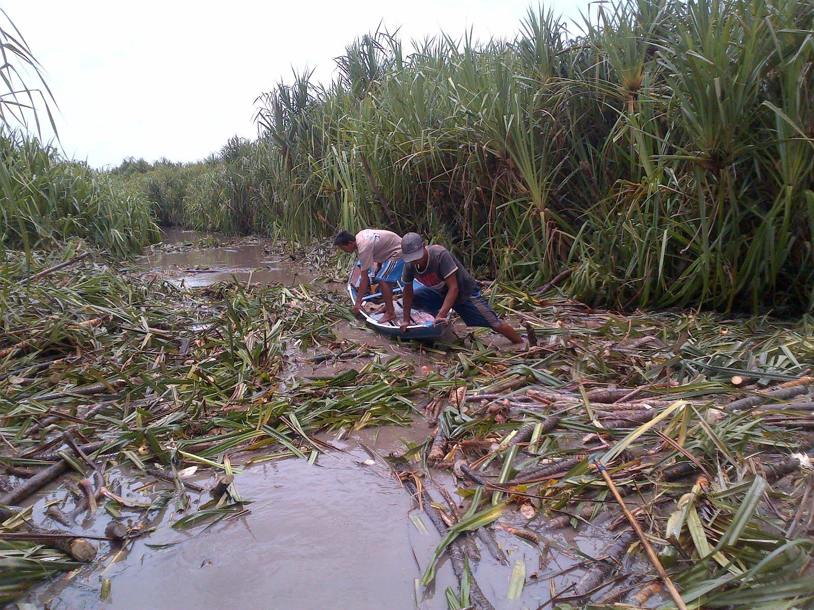 Beginilah keadaan sungai kami sekarang telah tercemar akibat aksi