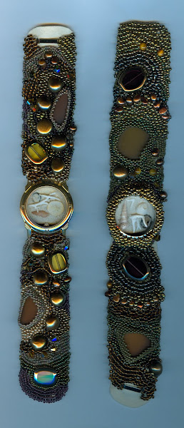 Brown cuffs #6 recycled watch faces filled with shells and sea glass
