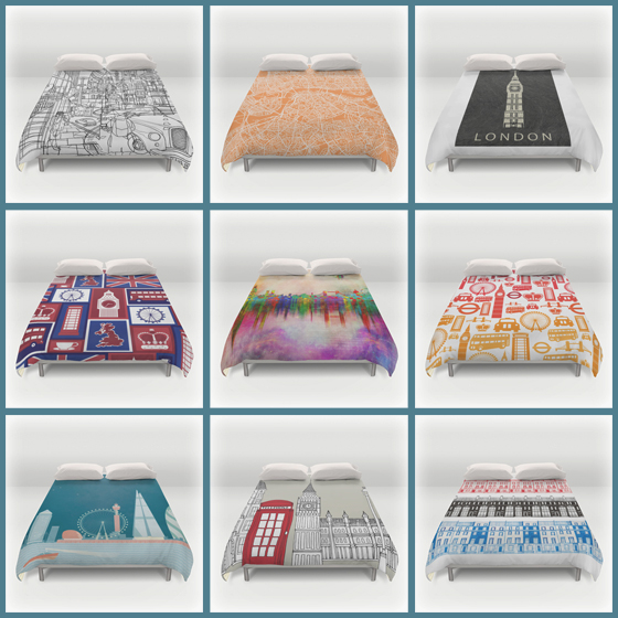 London Theme Duvet Cover