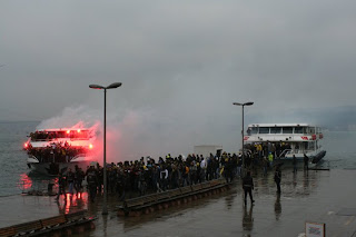 Fenerbahçe fans arriving at the jetty