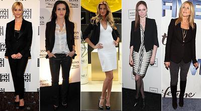 Vestido, calça e blusas chic estilo preto e branco