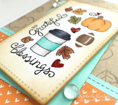 Fall Favorites | by Kimberly Rendino |  handmade card | football | pumpkins | coffee | kimpletekreativity.blogspot.com