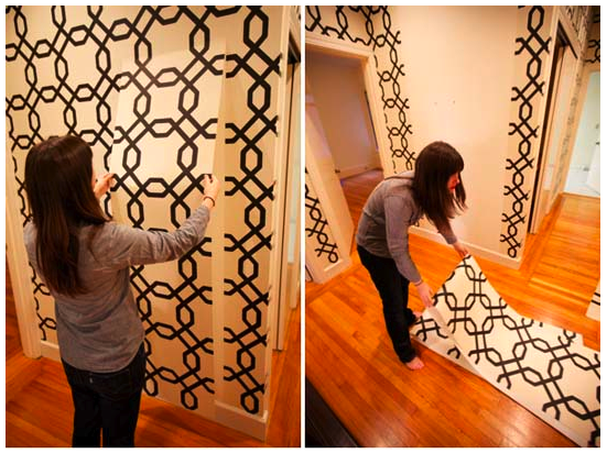 This great cream and black design is Kathy Ireland Easychange Wallpaper. From Sherwin-Williams via here. & Just Jill: Removable Wallpaper