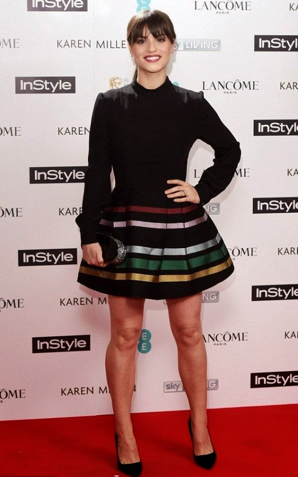 Charlotte Riley wears a dark top and skirt for BAFTA party at London's Ace Hotel in London on Monday, February 2, 2015