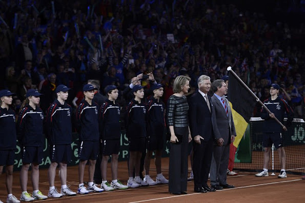 King Philippe of Belgium and Queen Mathilde of Belgium attends the opening ceremony of the Davis Cup Final 2015 (Belgium v Great Britain) at the Flanders Expo