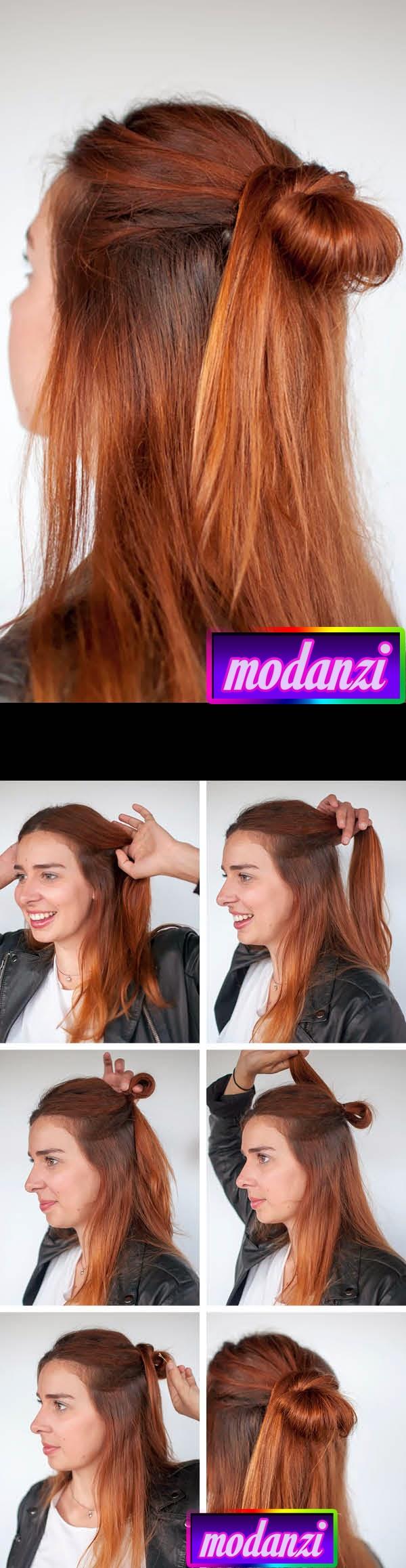 Yarım Topuz Saç Modeli Nasıl Yapılır ? ( Resimli Anlatım )