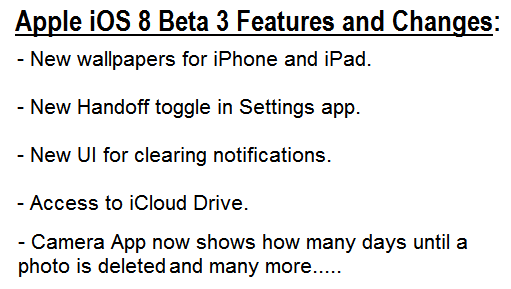 Apple iOS 8 Beta 3 Build No.12A4318c Features and Changes