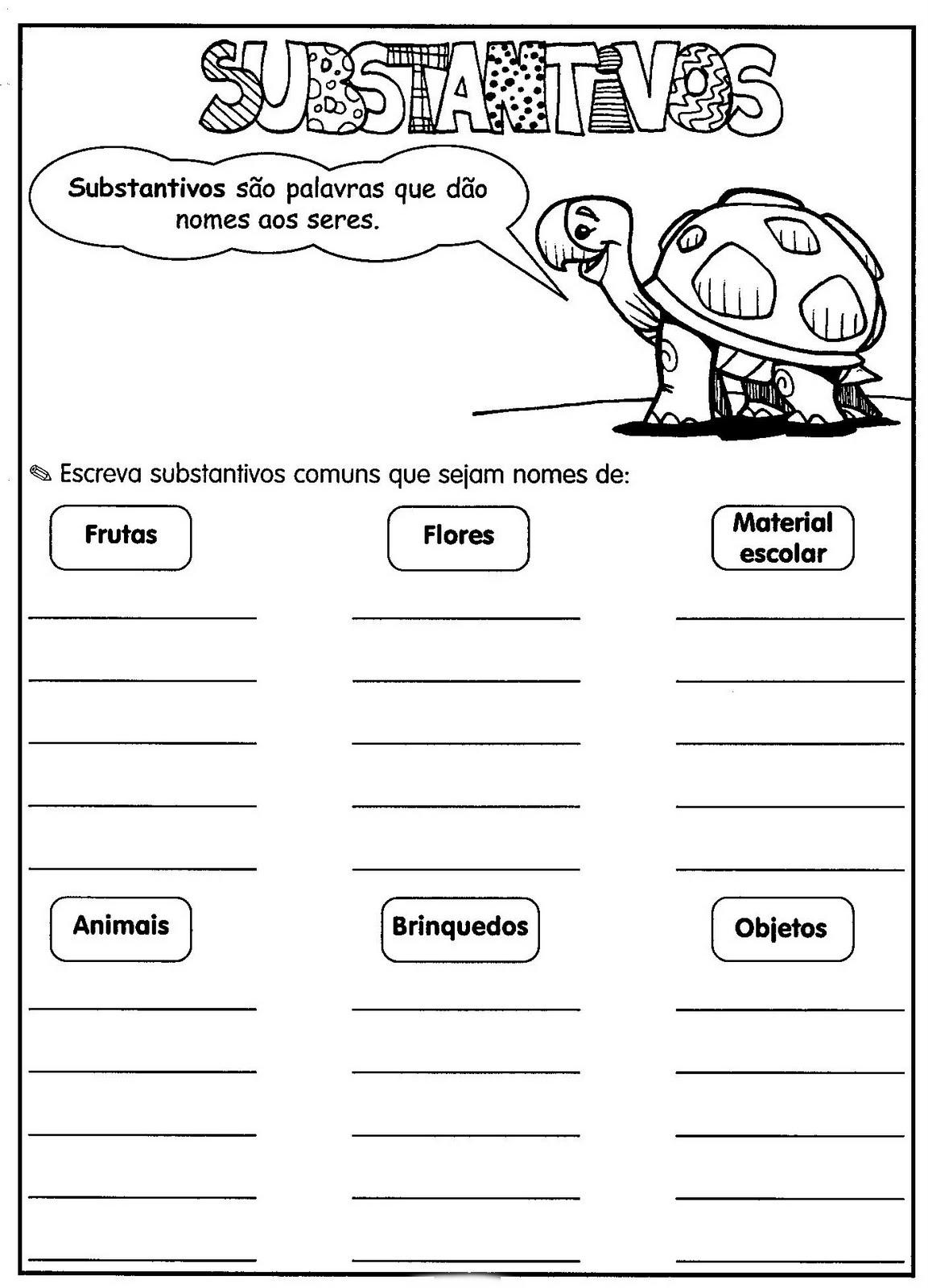 Estudar substantivos proprios e comuns
