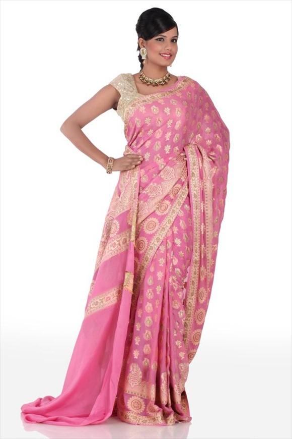 Carnation Pink Crepe Banarasi Saree