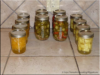 home canned mandarin oranges, jalapeno pepper rings, pineapple
