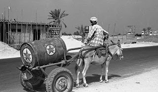 One barrel of Caltex oil, Jumeirah Beach Road 1975 old and rare pictures