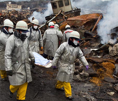 workers at disaster site