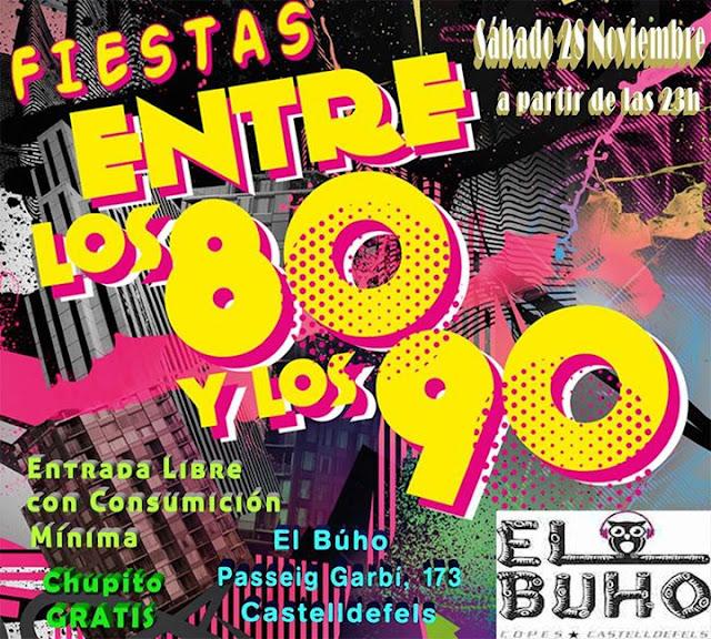 Flyer Fiesta Entre Los 80 y Los 90