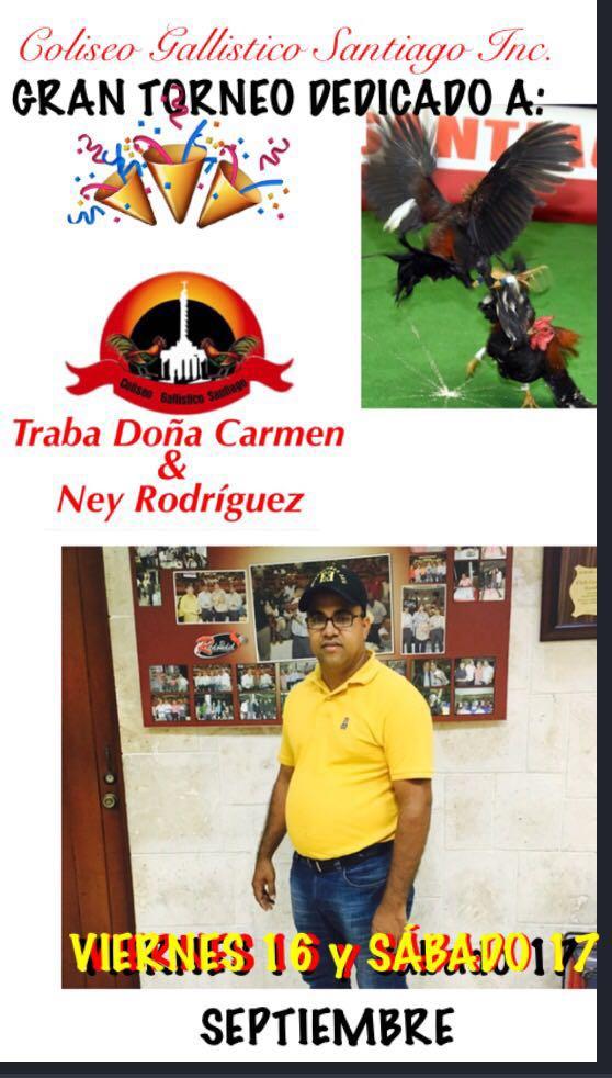 Gran Torneo el Proximo Viernes 16 y Sabado 17 de Septiembre en el Coliseo Gallistico de Santiago.