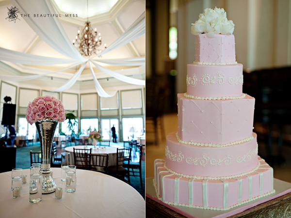 Pink wedding reception motiff and elegant wedding cakes