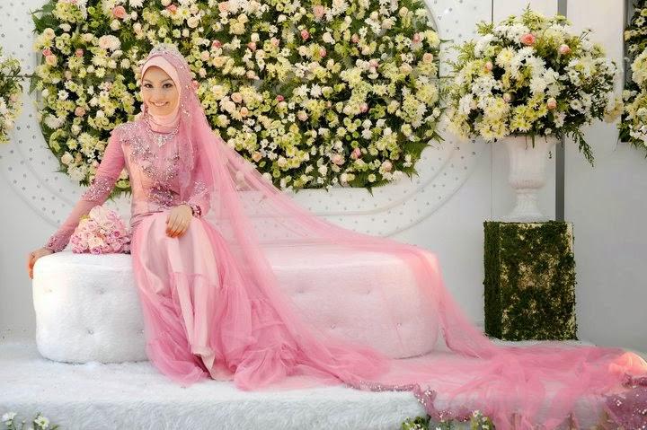 20 contoh model baju pengantin muslim pink kumpulan