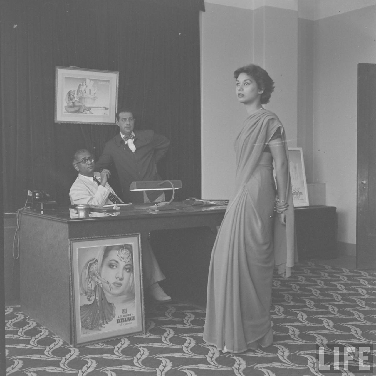 A R Kardar in white, auditioning women for a film