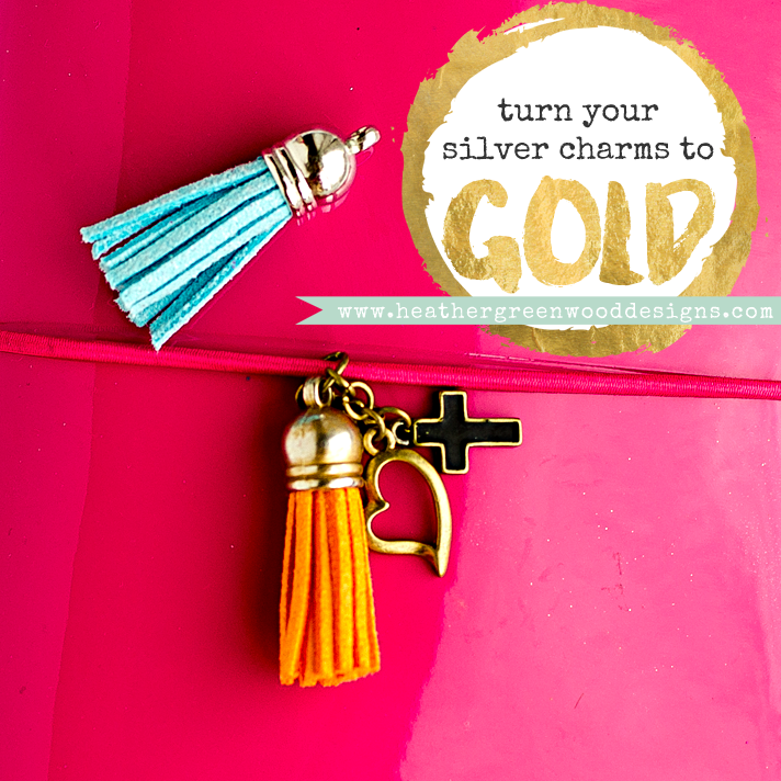 mixed media tutorial showing how to turn silver charms into gold using alcohol ink | planner charms, jewelry charms, suede tassels