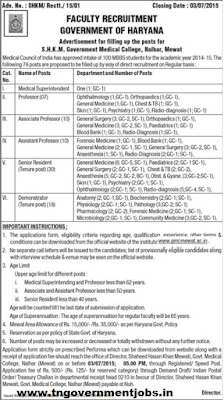 76 Posts Medical Superintendent, Professor, Associate Professor, Assistant Professor, Senior Resident and Demonstrator in S.H.K.M. Government Medical College Mewat