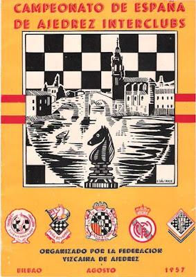 Portada del programa de Actos del II Campeonato de España de Ajedrez por Equipos, Bilbao 1957