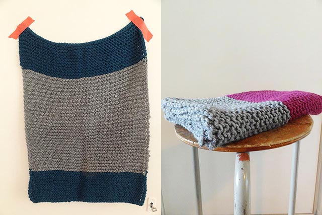 handmade knitted baby blanket pink / grey / petrol by handgehaakt.blogspot.com