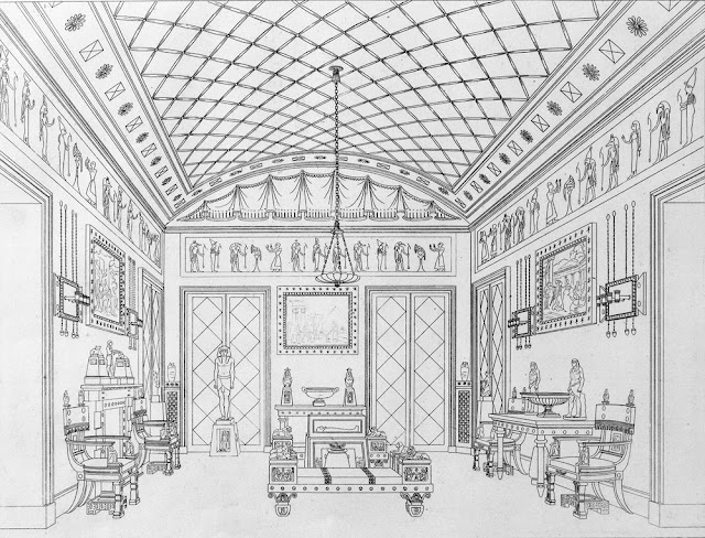 'The Egyptian Room', Plate 8, 'Household Furniture & Interior Decoration', by Thomas Hope, London, UK, 1807