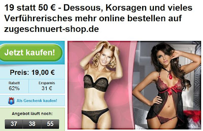 Groupon: Dessous-Gutschein im Wert von 50 Euro zum Preis von 19 Euro