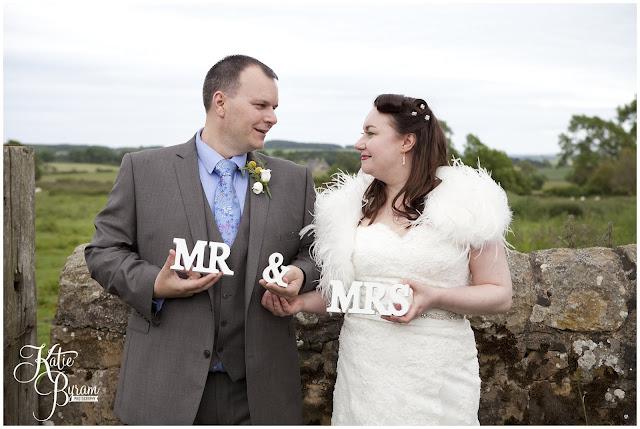 mr and mrs sign, bride in window, bridal prep, vintage wedding, high house farm brewery wedding, northumberland wedding photography katie byram photography,