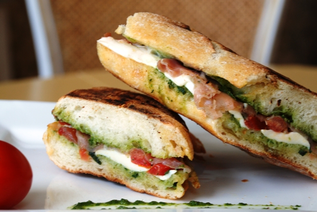 KC in the Kitchen: Prosciutto Mozzarella Pesto Tomato Panini