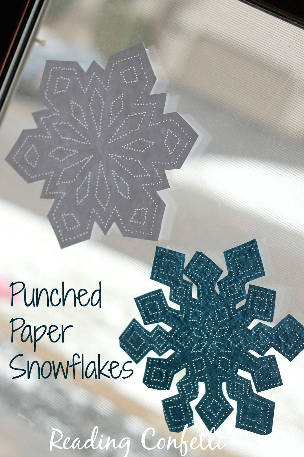 Punched paper snowflakes are a great craft to keep the kids busy during winter break.