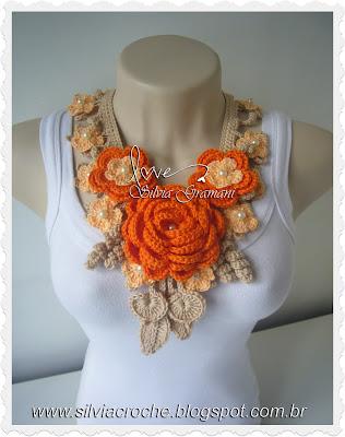 maxi colar, croche, flores em croche, acessório, mcessorio feminino, flores