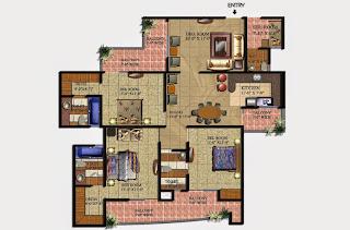 Livingston :: Floor Plans,Block D:-3 BHK (Type D1)3 Bedroom, 3 Toilet, Kitchen, Dining, Drawing, 2 Dressing Room, Servant Room, 4 Balconies Super Area - 2075 Sq Ft