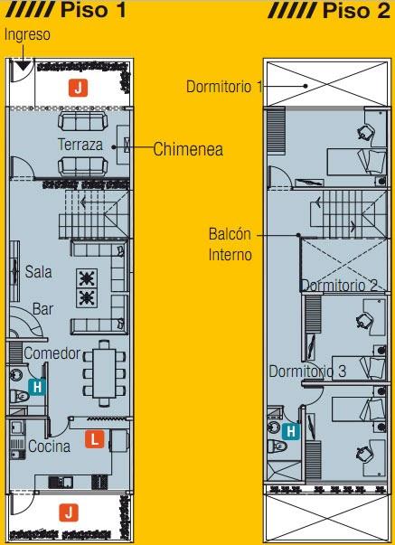 Plano de casa de 5m x 20m con un lote adelante planos de for Planos de casas alargadas