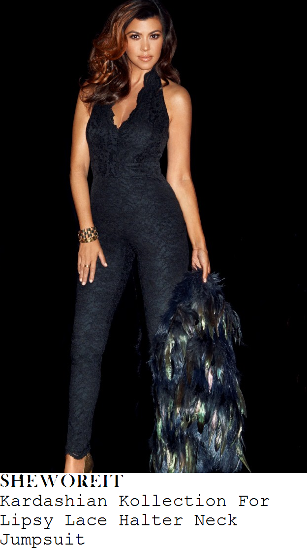 khloe-kardashian-black-lace-sleeveless-v-neck-halterneck-jumpsuit-lipsy-kardashian-kollection-launch