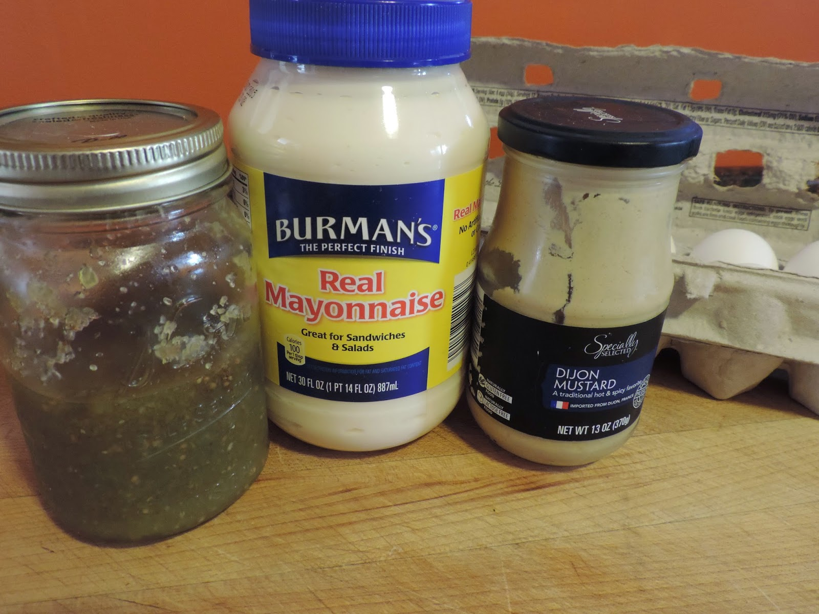 Ingredients needed to make the easy deviled eggs.