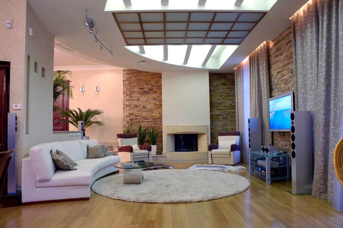 Sofa lengkung ruang keluarga