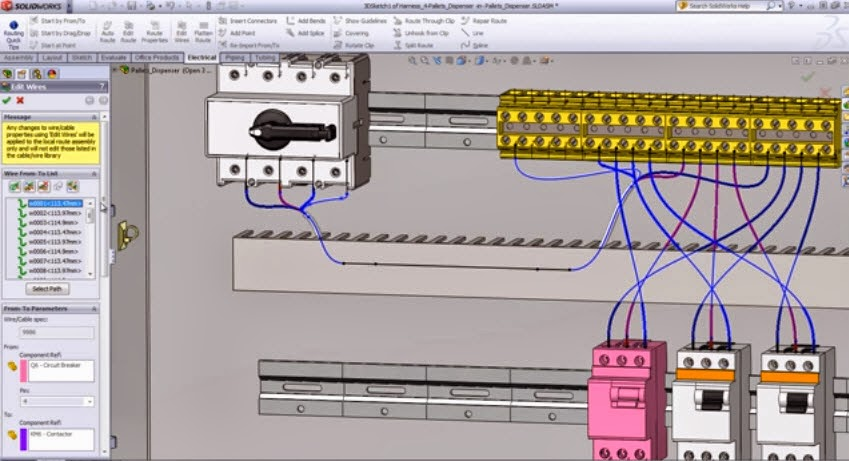 How to use the program Electrical Routing in SolidWorks