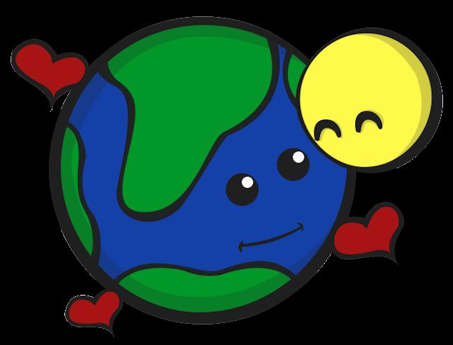 Planeta Terra e Lua fofinha desenho colorido com fundo transparente