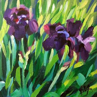 Purple Irises by Liza Hirst