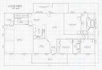 Plano de casa de campo con medidas en pies pulgadas