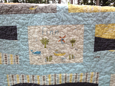 Gone Fishin' embroidered block