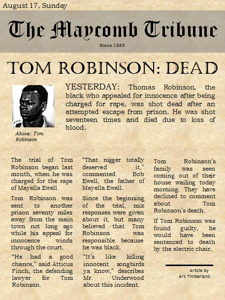 to kill a mockingbird newspaper article tom robinson trial (chapter 25) ' and find homework help for other to kill a mockingbird questions   of tom robinson's trial on the citizens of maycomb in to kill a mockingbird   the owner of the town newspaper, writes an editorial saying that it is a sin to kill a .