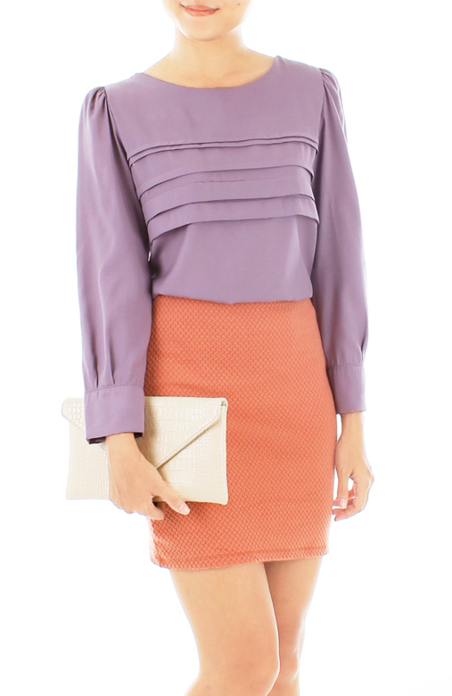 Dreamy Long Sleeve Blouse in Lavender Purple