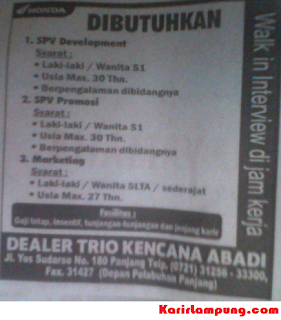 Lowongan Dealer Honda Trio Kencana Abadi