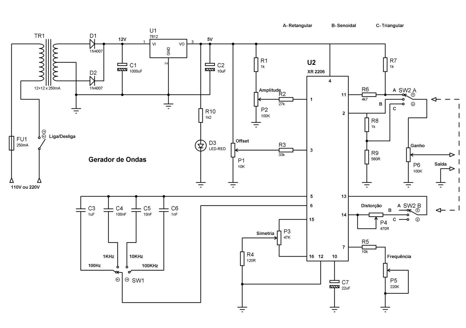 Circuito Xr2206 : Rafcom gerador de ondas